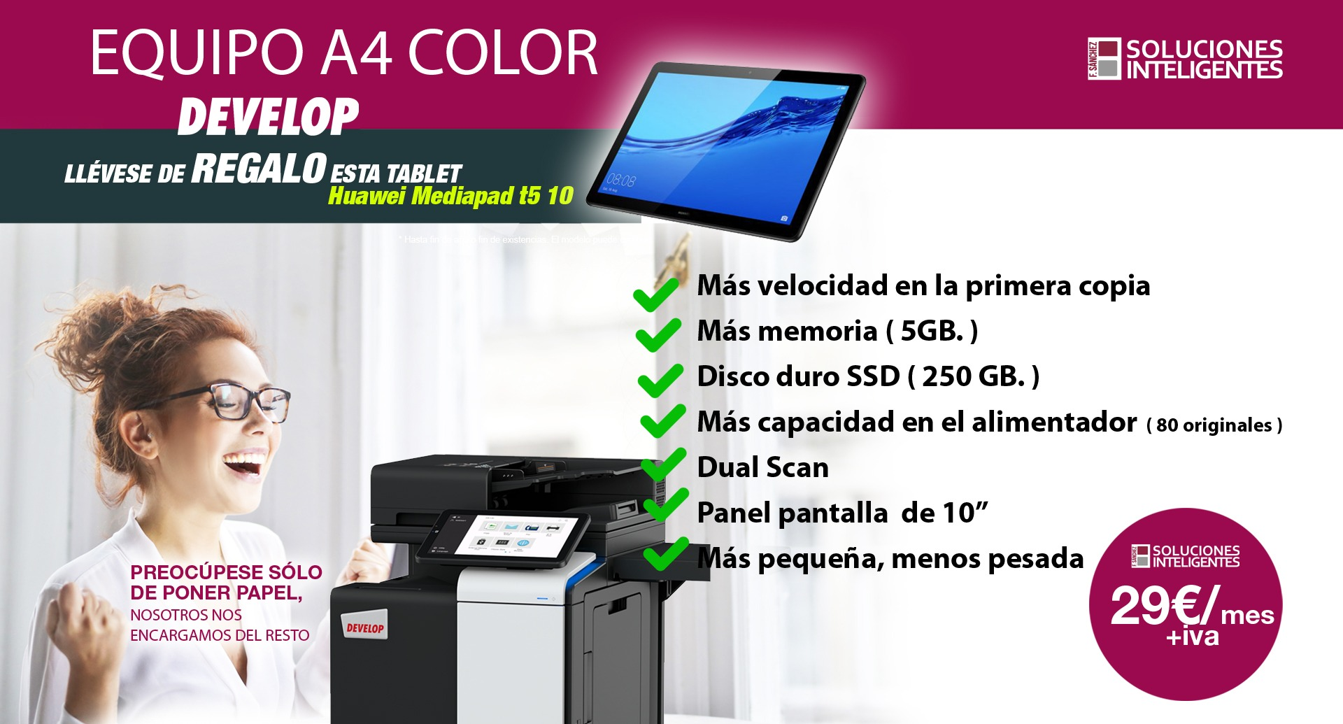 equipo develop a4 color renting en Cartagena Murcia